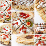 Pancakes with strawberry syrup on the collage image Royalty Free Stock Photos