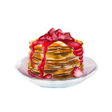 The pancakes with strawberry syrup isolated on white background, watercolor illustration Royalty Free Stock Image