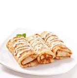 Pancakes stuffed with cottage cheese Royalty Free Stock Photo