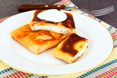 Pancakes Stuffed with Cottage Cheese Royalty Free Stock Photography