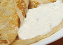 Pancakes stuffed curd. Royalty Free Stock Images