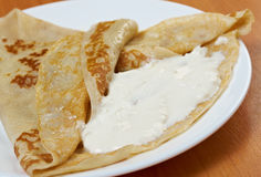 Pancakes stuffed curd. Royalty Free Stock Photography
