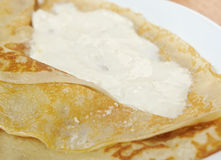 Pancakes stuffed curd. Stock Photo