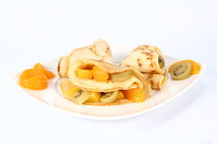 Pancakes stuffed with fruit Stock Photo