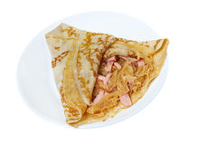 Pancakes stuffed ham and cabbage stew Royalty Free Stock Image