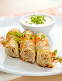 Pancakes Stuffed With Meat Stock Photography