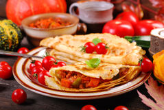 Pancakes stuffed with pumpkin,zucchini and minced meat Stock Photos
