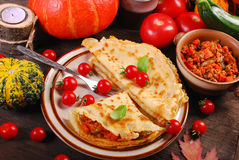 Pancakes stuffed with pumpkin,zucchini and minced meat Stock Images