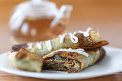 Pancakes Stuffed With Mushrooms And Cabbage Stock Image
