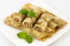 Pancakes with ham and cheese Royalty Free Stock Image