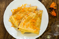 Pancakes with sweet citrus  sauce, crepes Suzette Stock Photo