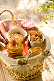 Pancakes and sweets in basket. Strawberry pancakes, cookies and sweets in basket royalty free stock photo
