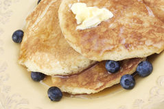 Pancakes with Syrup and Blueberries Royalty Free Stock Image