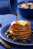Pancakes with syrup and blueberry Stock Photo