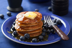Pancakes with syrup and blueberry Royalty Free Stock Photo