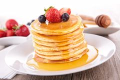 Pancakes and syrup Stock Image