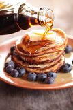 Pancakes and syrup Royalty Free Stock Photo