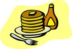 pancakes with syrup and fork vector illustration Stock Photos
