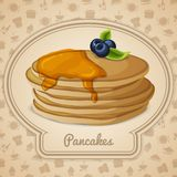 Pancakes with syrup poster Royalty Free Stock Images