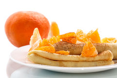 Pancakes with tangerines Stock Photo
