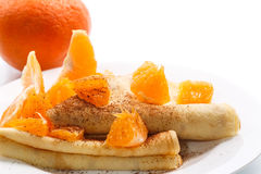 Pancakes with tangerines Royalty Free Stock Image