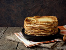 Pancakes. Tasty hot and thin pancakes stock images