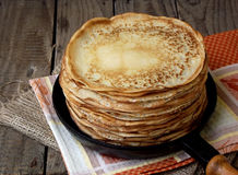 Pancakes. Tasty hot and thin pancakes royalty free stock image