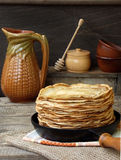 Pancakes. Tasty hot and thin pancakes royalty free stock photos