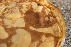 Pancakes texture on kithcen table - Flatlay top view stock photos