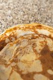 Pancakes texture on kithcen table - Flatlay top view stock photography