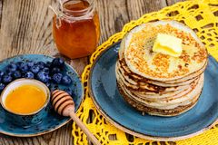 Pancakes for Thanksgiving dinner Royalty Free Stock Image