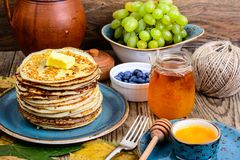 Pancakes for Thanksgiving dinner Royalty Free Stock Photos