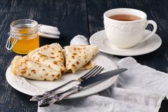Pancakes. Thin pancakes. Russian bliny. Stock Images