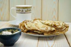Pancakes. Thin pancakes. Russian bliny. royalty free stock photography
