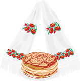 Pancakes and tovel Royalty Free Stock Images