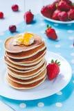 Pancakes traditional homemade American dessert Stock Photos