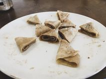 Pancakes in triangles! royalty free stock image