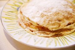 Pancakes with vanilla cream Royalty Free Stock Image
