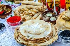 Pancakes with various fillings, caviar, mushrooms Stock Photography