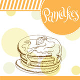Pancakes vector illustration. Bakery design. Beautiful card with decorative typography element. Pie icon for poster Royalty Free Stock Photo