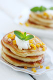 Pancakes with walnuts royalty free stock images