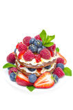 Pancakes with whipped cream and fresh berries isolated Royalty Free Stock Photo