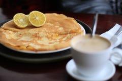Pancakes white coffee Stock Photos