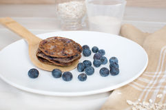 Pancakes with whole wheat and oats Royalty Free Stock Photo