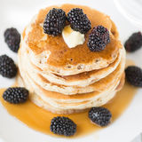 Pancakes With Blackberry And Maple Syrup Royalty Free Stock Photography