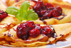 Free Pancakes With Cherry Confiture Stock Images - 9255284