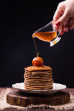 Pancakes With Chinese Apples Jam And Pouring Syrup On Top Royalty Free Stock Images