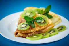Pancakes With Kiwi Stock Images
