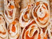 Pancakes With Red Caviar Royalty Free Stock Photos