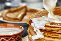 Free Pancakes With Sour Cream Stock Images - 50491094